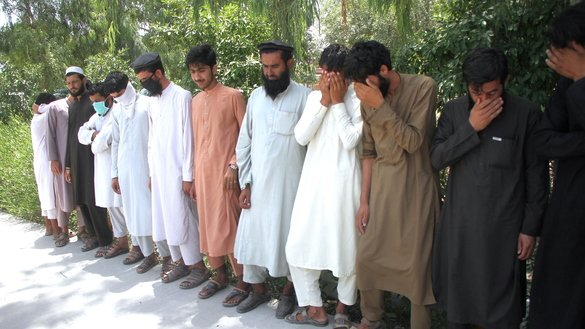 Local authorities in Nangarhar Province present seven members of ISIS and 17 Taliban fighters to media at the National Directorate of Security (NDS) compound in Jalalabad on June 19. [Khalid Zerai]