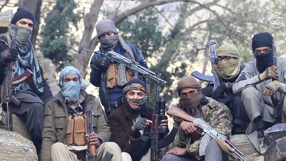This is a still from a video posted by ISIS on June 29, showing a group of its militants in Afghanistan. The Khorasan branch of ISIS is trying to make inroads on Taliban territory in both Afghanistan and Pakistan. [File]