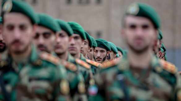 Iranian soldiers line up in formation at a military event in Iran in January. Two armed Iranian soldiers were arrested July 9 deep inside Afghan territory. [DEFAPress]