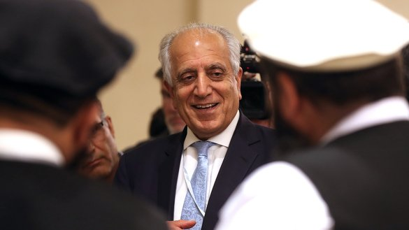 US Special Representative for Afghanistan Reconciliation Zalmay Khalilzad attends the Intra Afghan Dialogue talks in Doha, Qatar, July 8. Dozens of Afghans met with a Taliban delegation on July 7-8 to end 18 years of war. [Karim Jaafar/AFP]