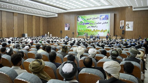Thousands of Herat residents gather in Herat city August 8 to urge the Taliban militants to renounce violence and make peace. [Omar]