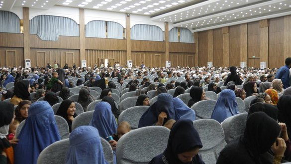 Participants including women gather August 8 at Mawlana Jalaluddin Mohammad Balkhi Hall in Herat city. [Omar]