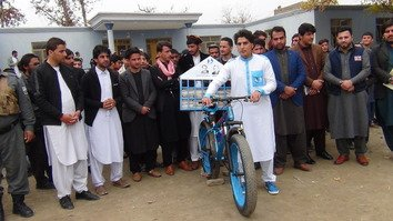 Activist's bike journey spreads message of education across Afghanistan