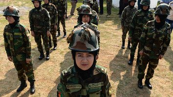 In photos: female Afghan army officers receive combat training in India