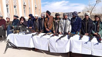 Taliban fighters surrendering in Ghor pledge support against former comrades